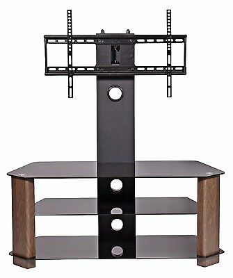"Cantilever black glass tv stand walnut legs 3 shelves for 42"" 50"" 55"" 60"" 65"" tv"