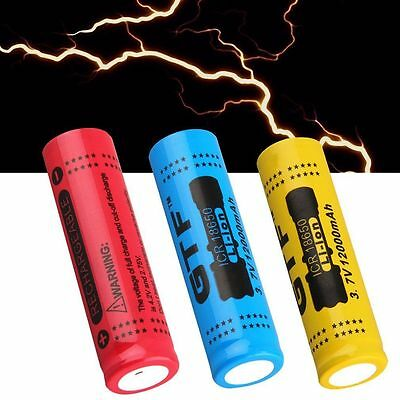 1/4X 18650 3.7V 12000mAh Rechargeable Li-ion Battery for LED Torch Flashlight BY