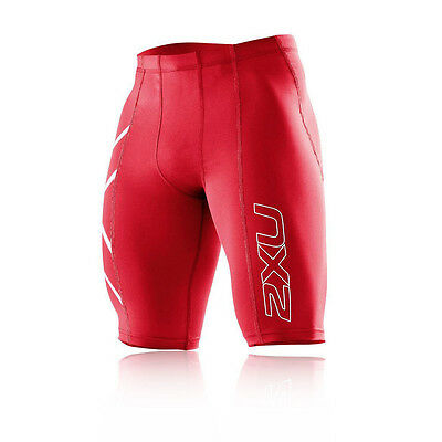 2XU Mens Red Compression Long Sports Fitted Running Short Tights Bottoms