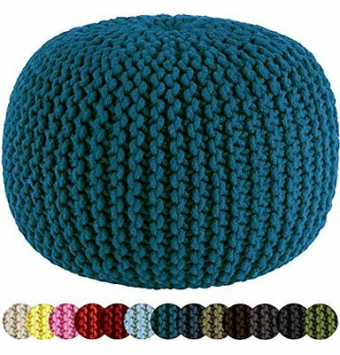 Cotton Craft Hand Knitted Cable Style Dori Pouf Teal Floor Ottoman New