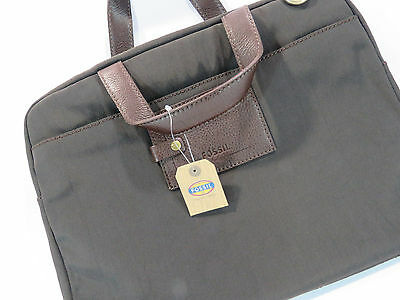 Fossil Green Canvas Brown Leather Handles Small Messenger Bag