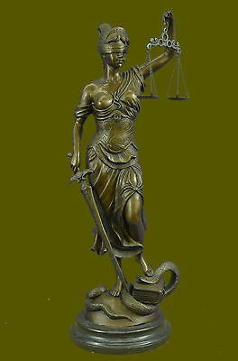Bronze Blind Lady of Justice Scales Lawyer Attorney Statue Sculpture Decor