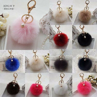 Charm Key Ring Rabbit Fur Ball PomPom Cell Phone Car Keychain Handbag Cute Decor