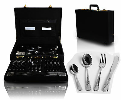 72 Piece Kitchen Stainless Steel Cutlery Set in CASE Boxed solid Tableware Gift