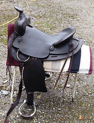 """western saddle full size brown leather genuine USA by Simco seat 17 1/2"""""""