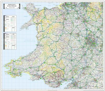 Ordnance Survey WALL Map of Wales/Cymru & West Midlands. Road Map of Wales.