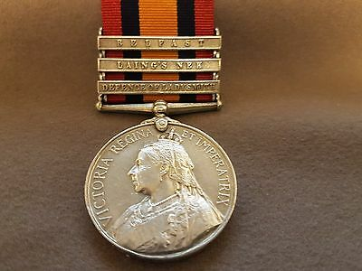 Queens South Africa Medal 3 clasps to the Liverpool Regiment.