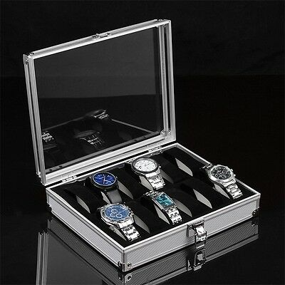 12 Grid Slots Jewelry Watches Display Storage Box Case Aluminium Square NEW BY