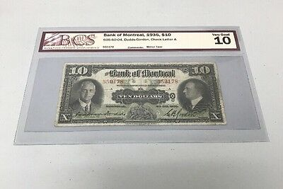 Bank Of Montreal 1935 $10 Dodds-Gordon Very Good BCS Certified Note