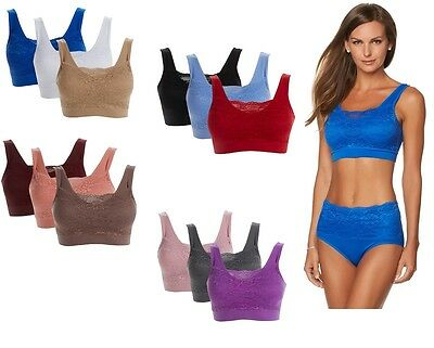 $72 Rhonda Shear 3 Pack Seamless Lace Overlay Bra 492651 CLEARANCE $17