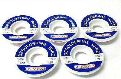 Desoldering braided wick. 1.5 mm. Wire. Flux coated. 1.5mtr reel. *Top Quality!