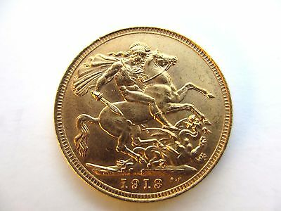 1913 Full Gold Sovereign George V Sidney Mint Unc