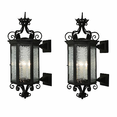 Substantial Pair of Antique Iron Exterior Lantern Sconces, NSP932