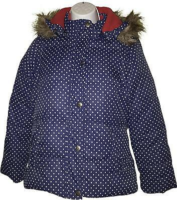 Used Girls Mini Boden Blue Spotty Coat - Removable Arms Age 11-12 Years (V.F)