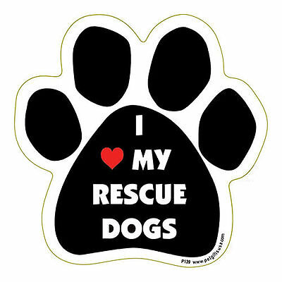 I Love Heart My Rescue Dogs Dog Paw Quote Car Magnet