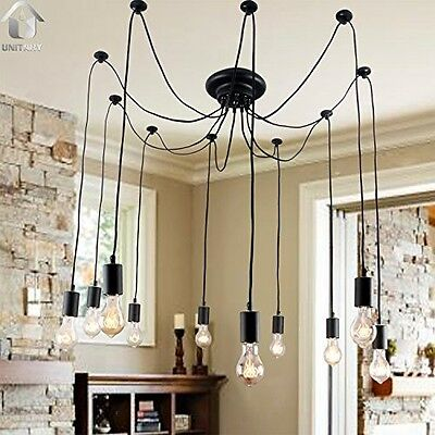 Chandelier Antique Barn Fixture Black Large  Deco 10-40watts Industrial Vintage