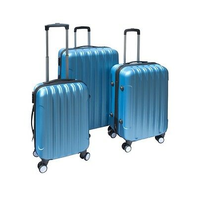 ALEKO 3 Piece Luggage Travel Bag Set ABS Suitcase With Lock Blue Color