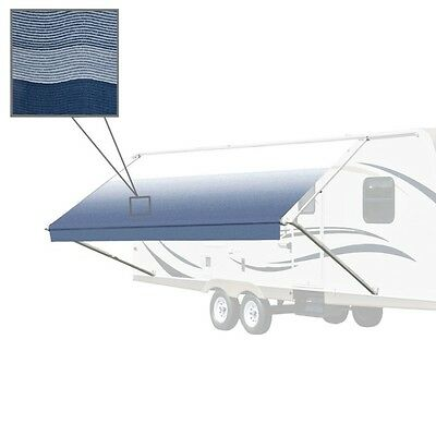 ALEKO Waterproof Vinyl RV Awning Fabric Replacement 15X8 ft  Blue Stripes Color