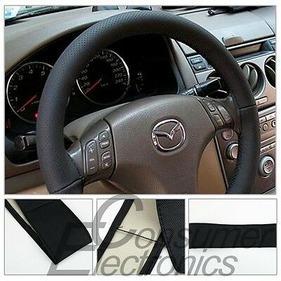 DIY Car Steering Wheel Cover covers With Needles Thread Artificial leather Black