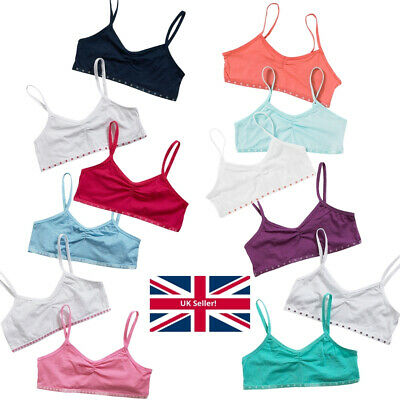 Just Essentials Girls Back To School 3 Pack Cotton Crop Bra Tops Pastels