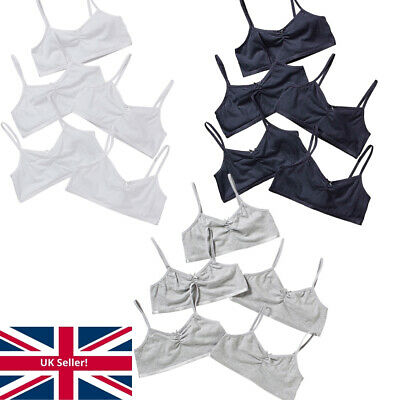 Just Essentials Girls Back To School 5 Pack Cotton Crop Bra Tops Plain White