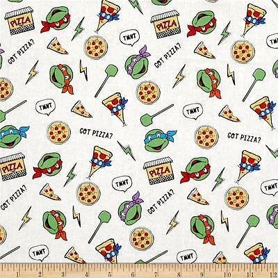 Teenage Mutant Ninja Turtles Retro Got Pizza 100% Cotton fabric by the yard