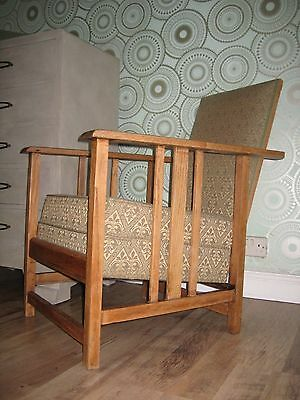Superb ARTS AND CRAFTS SOLID BLONDE OAK Upholstered  Reclining Lounge/Arm Chair