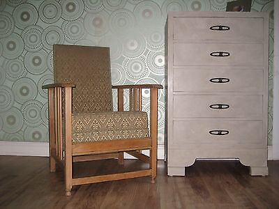 Superb ARTS AND CRAFTS Upholstered SOLID BLONDE OAK Reclining Lounge/Arm Chair