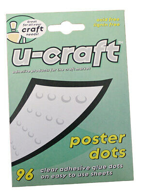 36 U-Craft 14mm Poster Glue Adhesive Dots 96 per pack removable peelable 201054