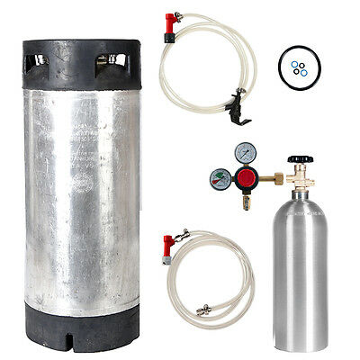 Keg Kit: 5 Gal Pin Lock Used Keg, 5 lb CO2 Tank, Regulator & Parts - SHIPS FREE