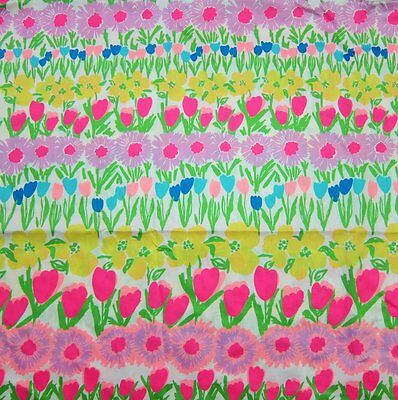 Lilly Pulitzer Cotton Sateen Fabric Floral Line Dance 1 Yard