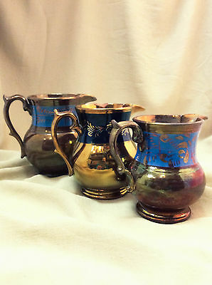 Set of 3 Vintage Copper Lusterware Footed Pitchers/Jugs with Blue Band
