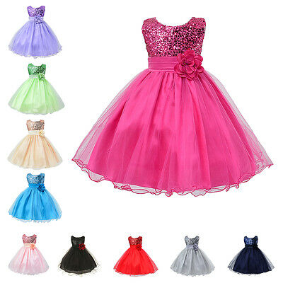 Tulle Tutu Dress Flower Girl Kid Wedding Pageant Sequin Party Gown Birthday Prom