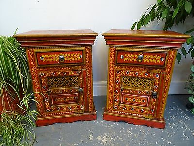 A Pair of Rajasthan Wooden Painted Pot Cupbaord, Bed Side Cabinets, Red