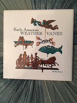 """6""""x 6"""" Early American Weather Vanes Tile Porcelain ScreenCraft Signed P. Howard"""