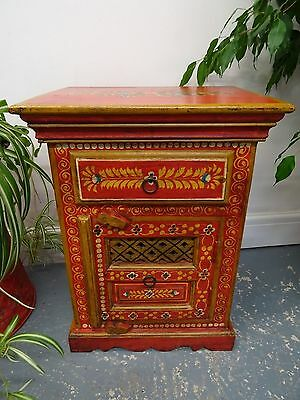Wooden Painted Pot Cupbaord, Bed Side Cabinet, Red, Rajasthan