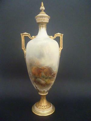 Royal Worcester Highland Cattle Vase And Cover  By J Stinton  Dated 1920