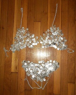 Womens's Unique G-STRING and BRA Costume made from SILVER COINS & CHAINS Small