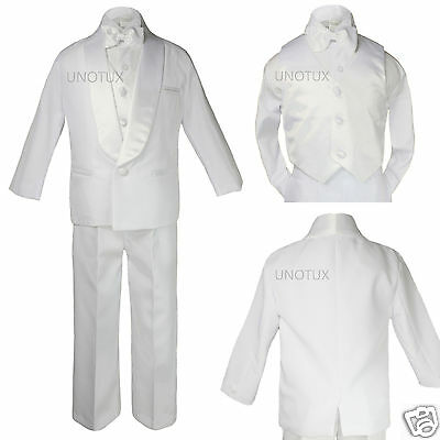 Baby Toddler Boy Wedding Party Formal Shawl Satin Lapel Tuxedo White Suit sz S-7