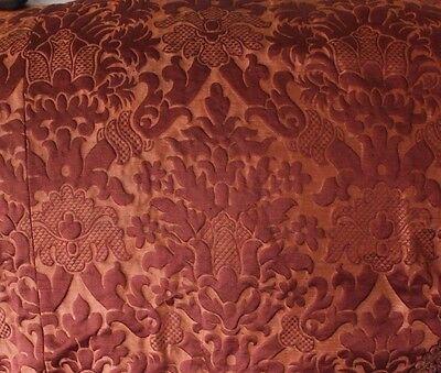 Antique French Silk Brocatelle Home Decor Textile Fabric c1870~Frame Layout