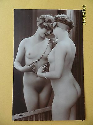 Original French 1910's-1920's Postcard Nude Erotic Lady Mirror Image #35