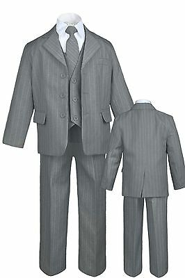 New Baby,Toddler & Boy Easter Formal Wedding Tuxedo Suit Gray Pinstripes sz S-20