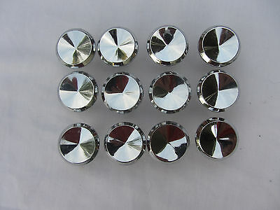 "12 Vintage Ajax Chrome Drawer Pulls Knobs 1"" Made In Usa"