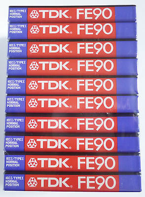 TDK FE90 Ferric Audio Cassette Tapes x 10 New & Sealed - Normal Position Type I