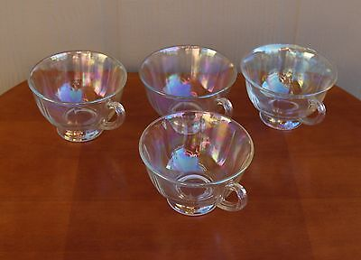 Set of 4 Vintage Iridescent Punch Bowl Cups Clear