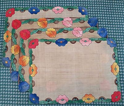Vintage Handmade Appliqued Flowers and Cutwork Set of 4 PLACEMATS Lovely