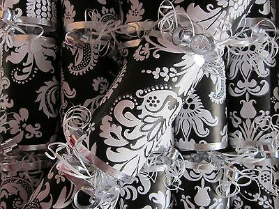 Luxury Christmas Crackers Brand New Handmade Black N White Damask