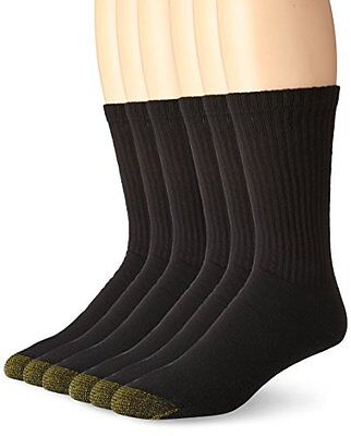 Gold Toe Men''s Cotton Standard Crew Athletic Sock, Black 10-13, 6-Pack