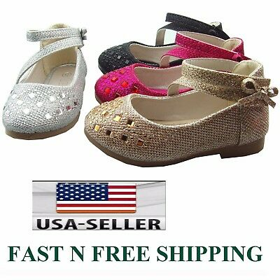 New Youth Kids Girl's Glitter Rhinestone Mary Jane Ankle Strap Ballet Flat shoes