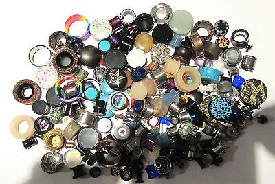 100 Pair Wholesale Lot Lobe Plugs Tunnels from 8g to 1 inch Excellent Reseller